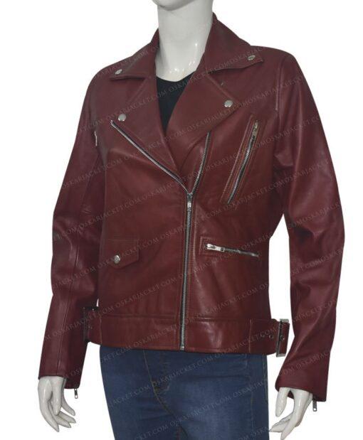 Women Biker Burgundy Genuine Leather Jacket Right Side