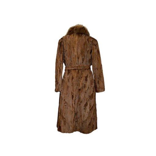 Women Brown Karakul Fur Coat Back
