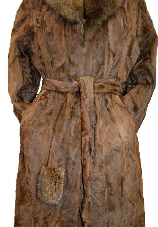 Women Brown Karakul Fur Coat Belted Image