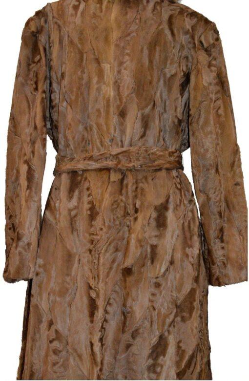 Women Brown Karakul Fur Coat Focused Back