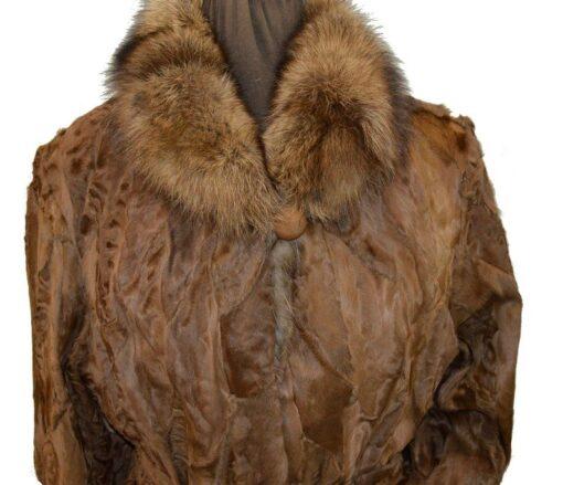 Women Brown Karakul Fur Coat Focused Collar