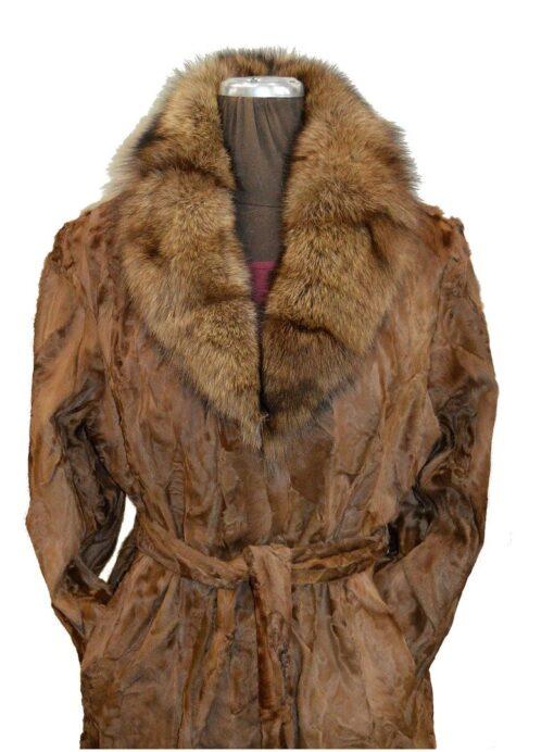 Women Brown Karakul Fur Coat Focused Image
