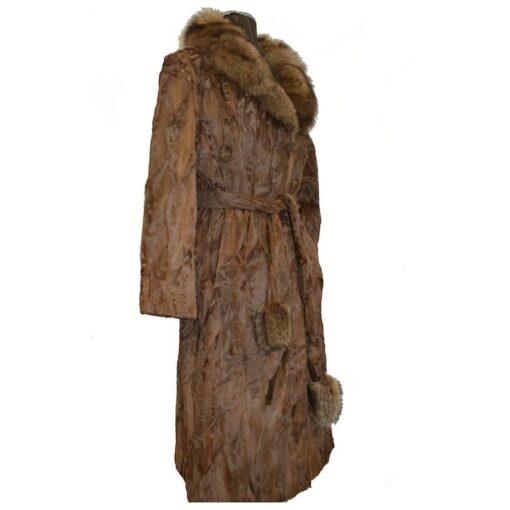 Women Brown Karakul Fur Coat Side Image