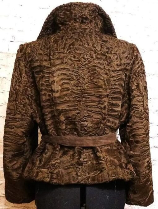 Women Persian Lamb Brown Jacket Back