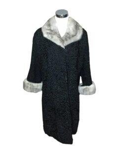 Women Persian Lamb Mink Fur Collar Coat