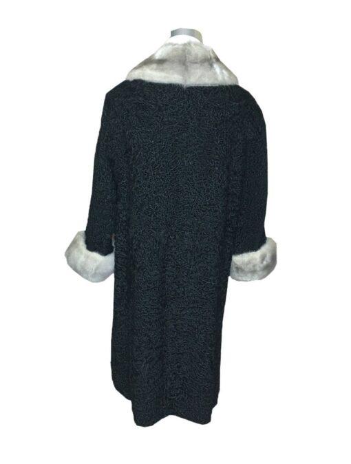 Women Persian Lamb Mink Fur Collar Coat Back