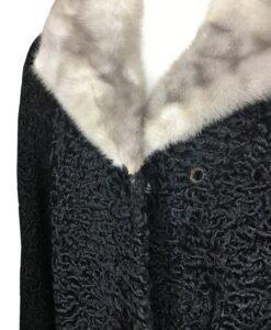 Women Persian Lamb Mink Fur Collar Coat Image