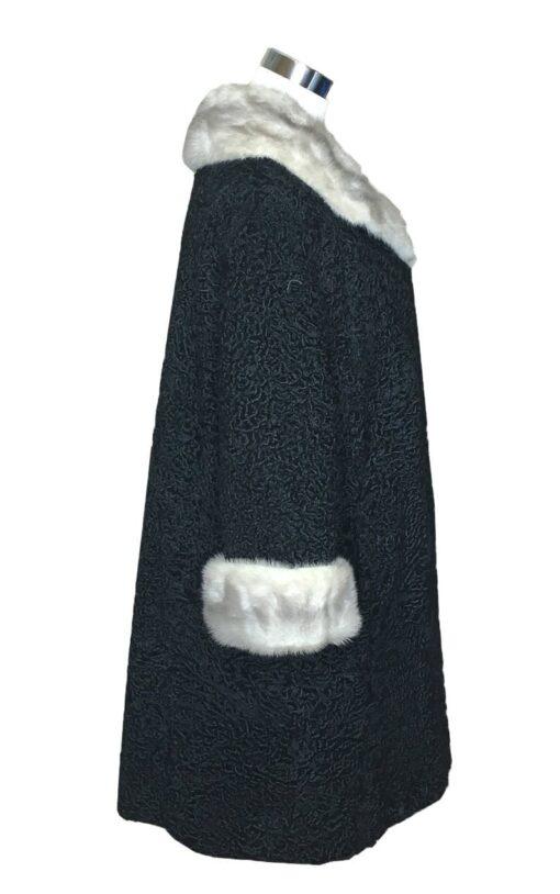 Women Persian Lamb Mink Fur Collar Coat Side Image