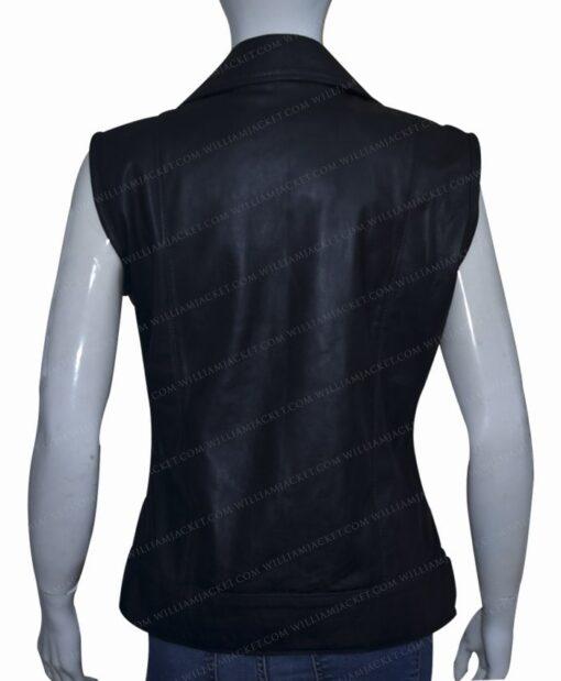 Women Slim Fit Black Real Leather Biker Vest Back