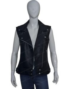 Women Slim Fit Black Real Leather Biker Vest Front Open