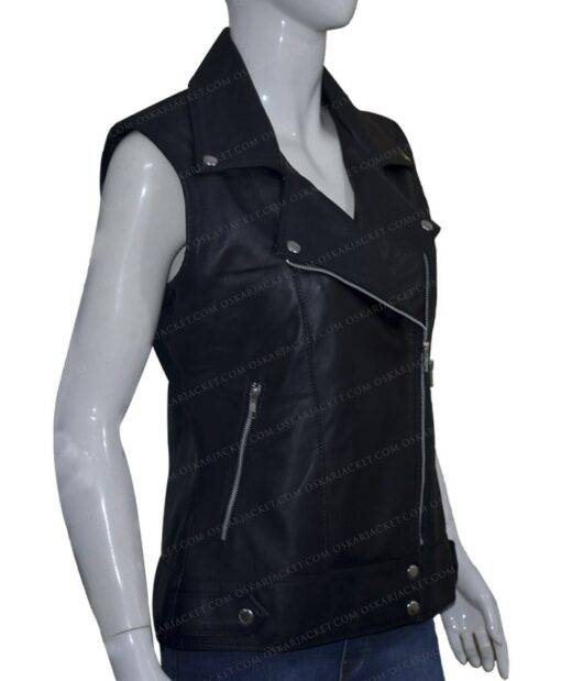 Women Slim Fit Black Real Leather Biker Vest Left