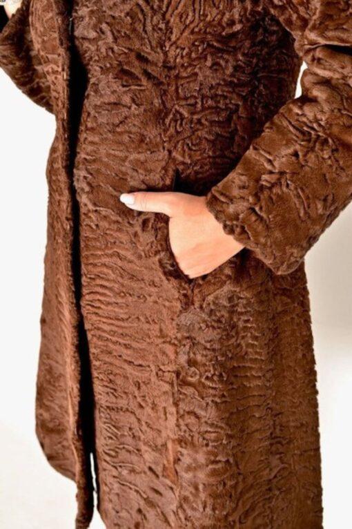 Women Swakara Lamb Fur Coat Pocket Side