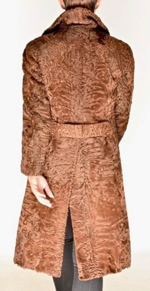 Women Swakara Lamb Fur Coat With Fox Fur Collar