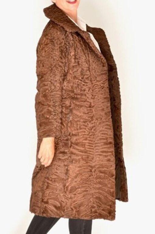 Women Swakara Lamb Fur Coat With Mink Fur Collar