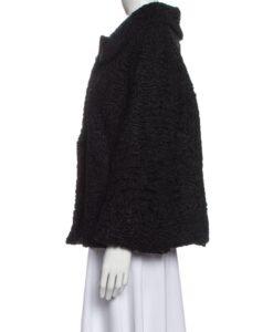 Women Vintage Persian Lamb Fur Jacket Side