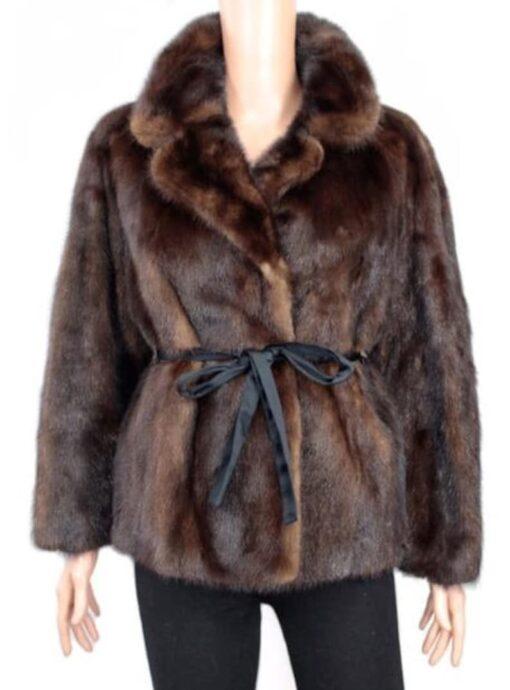 Women's 1960s Style Coffee Brown Mink Fur coat