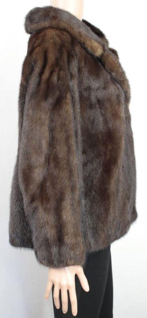 Women's 1960s Style Coffee Brown Mink Fur coat Side