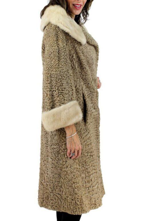 Women's Asterkhan Brown Persian Lamb Fur Long Coat Side