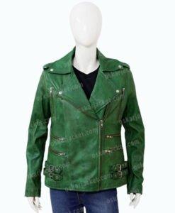 Womens Biker Green Lambskin Leather Jacket Front