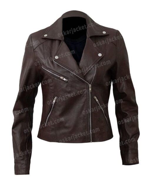 Women's Motorcycle Brown Sheepskin Jacket