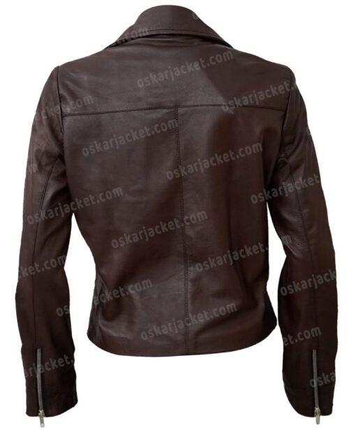 Women's Motorcycle Brown Sheepskin Jacket Back