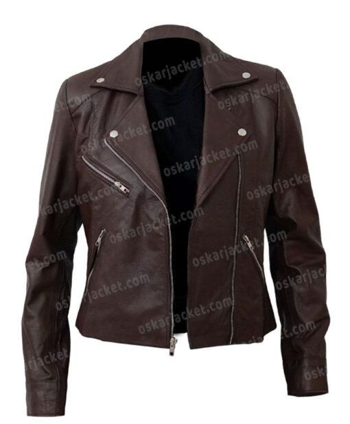 Women's Motorcycle Brown Sheepskin Jacket Open Front