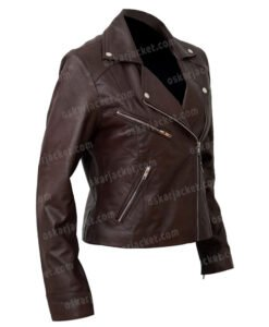 Women's Motorcycle Brown Sheepskin Jacket Right