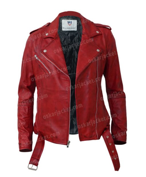 Womens Negan Red Biker Leather Jacket