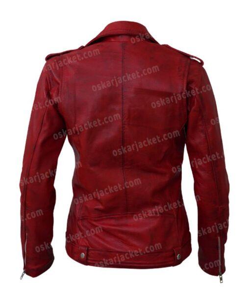 Womens Negan Red Biker Leather Jacket Back