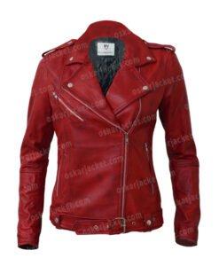 Womens Negan Red Biker Leather Jacket Front