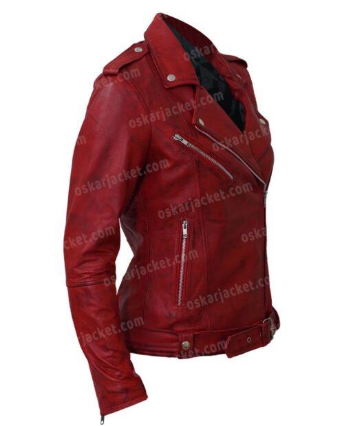 Womens Negan Red Biker Leather Jacket Side