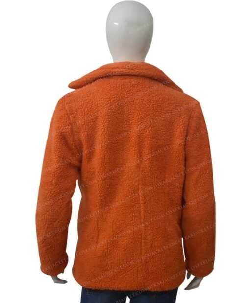 Yellowstone Beth Dutton Orange Shearling Coat Back