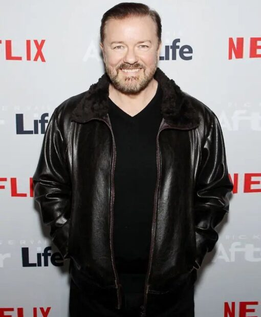 After Life Ricky Gervais Fur Collar Black Leather Jacket 2