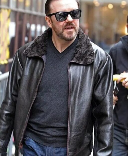 After Life Ricky Gervais Fur Collar Black Leather Jacket