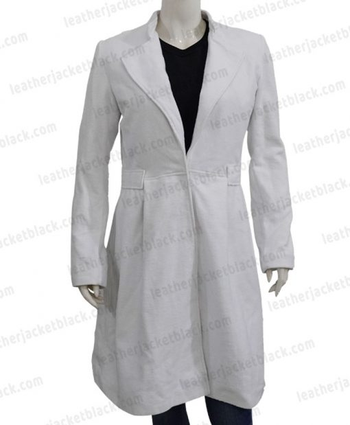 Alice Braga Queen of The South Wool White Coat Front