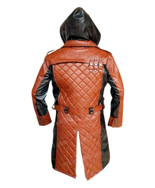 Assassins Creed Syndicate Jacob Frye Hooded Leather Coat Back