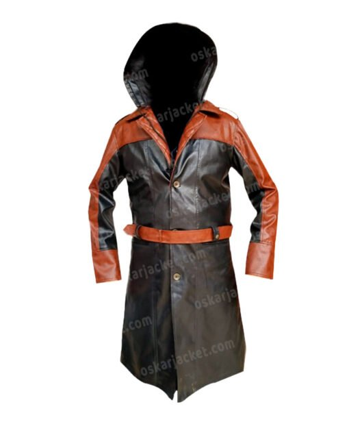 Assassins Creed Syndicate Jacob Frye Hooded Leather Coat Front