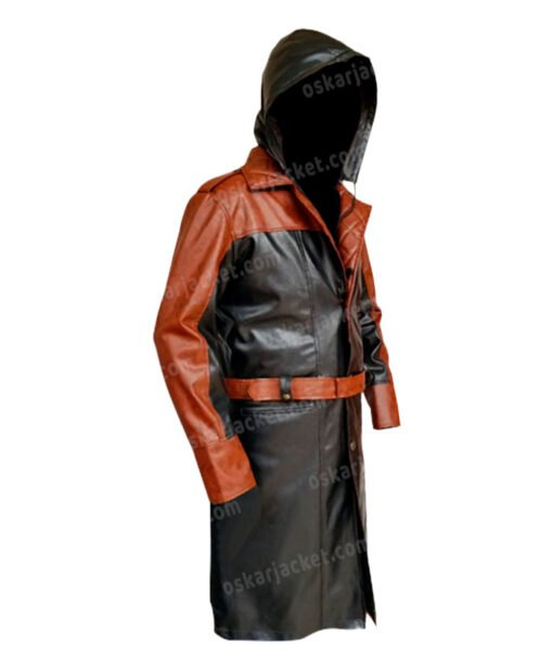 Assassins Creed Syndicate Jacob Frye Hooded Leather Coat Side