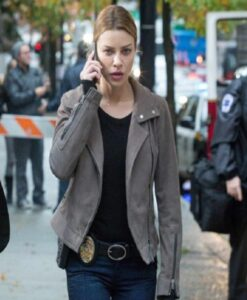 Chloe Decker Lucifer Grey Biker Leather Jacket