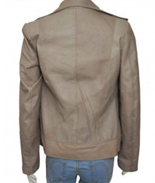 Chloe Decker Lucifer Grey Motorcycle Leather Jacket