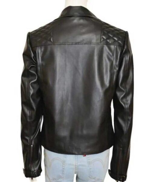 Chloe Decker Lucifer Quilted Biker Black Leather Jacket
