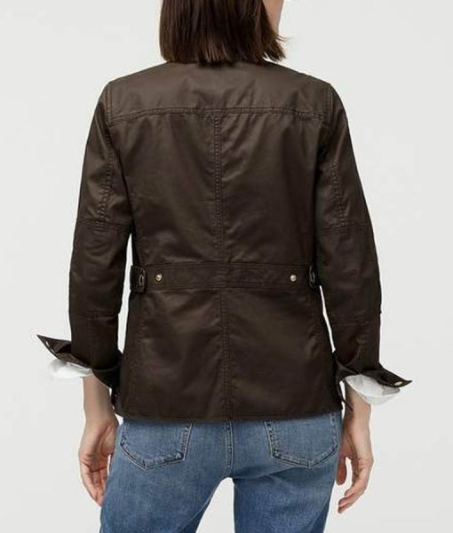 Good Girls Christina Hendricks Cotton Brown Jacket Back