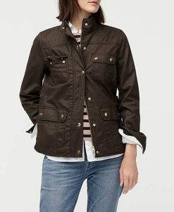 Good Girls Christina Hendricks Cotton Brown Jacket Front
