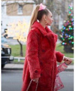 Juno TempleTed Lasso Keeley Jones Red Fur Coat Side