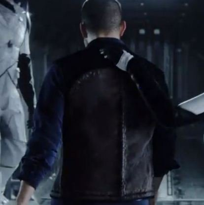 Love Death And Robots Thom Black Leather Moto Vest back