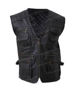 Men's Multi Pockets Black Leather Workwear Vest Front