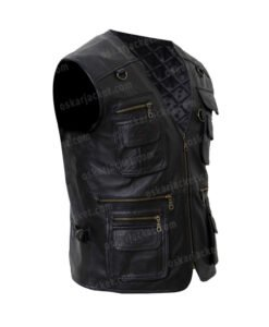 Men's Multi Pockets Black Leather Workwear Vest Right