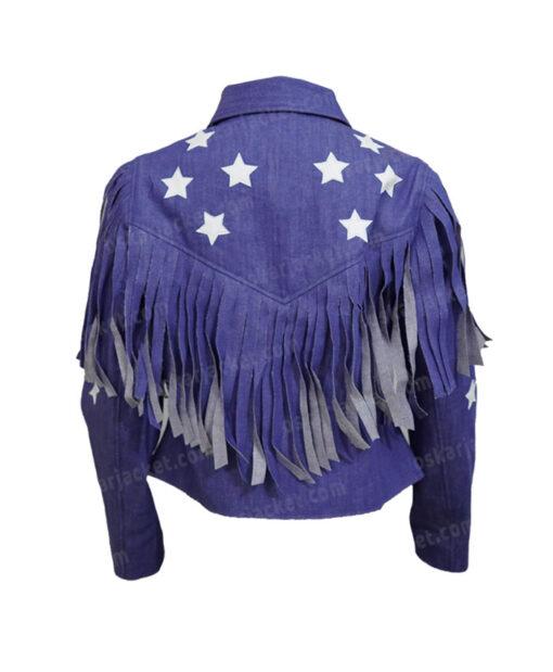 Miss Americana Taylor Swift Fringed Blue Denim Jacket Back