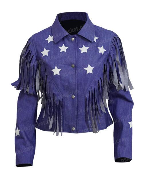 Miss Americana Taylor Swift Fringed Blue Denim Jacket Front