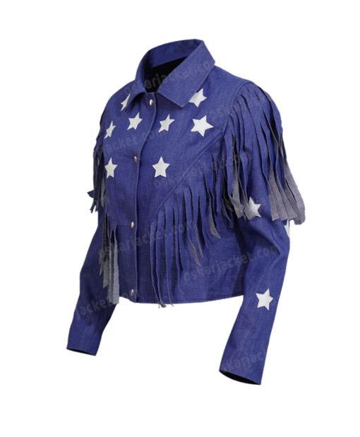 Miss Americana Taylor Swift Fringed Blue Denim Jacket Left